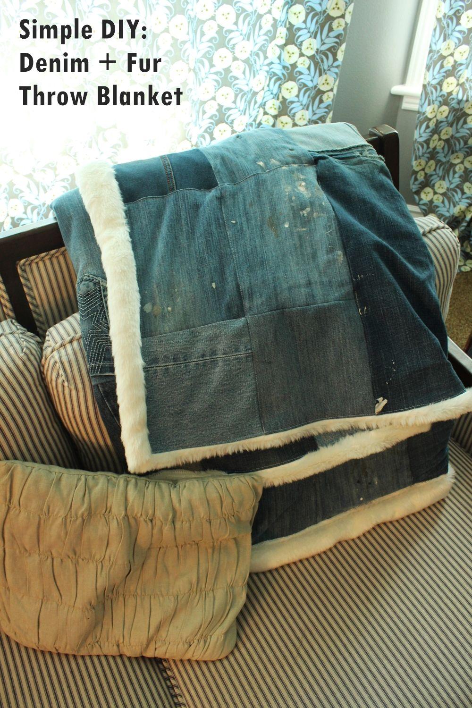 DIY Denim Fur Throw - simple design