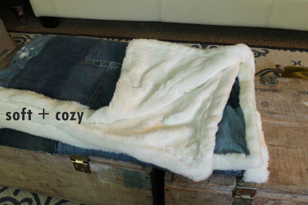 DIY Denim Fur Throw -soft and cozy