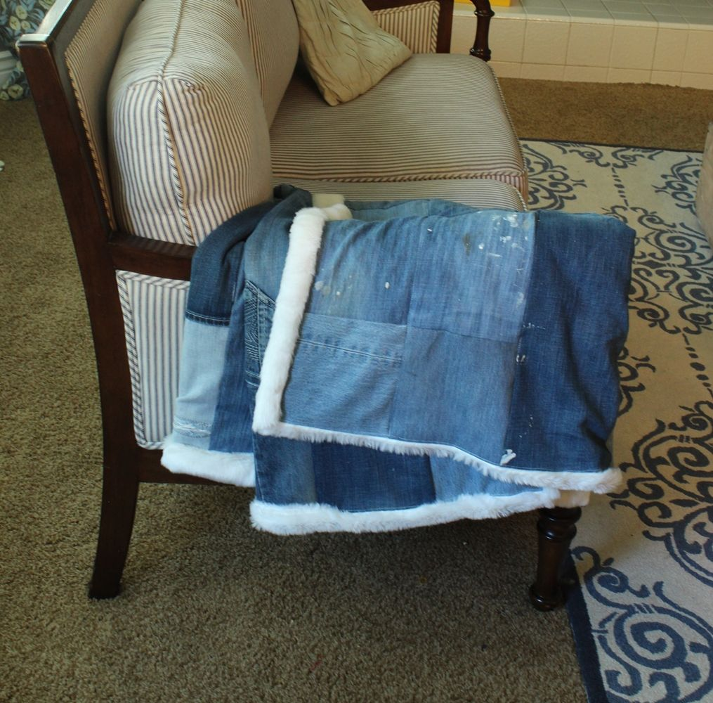 DIY Denim Fur Throw