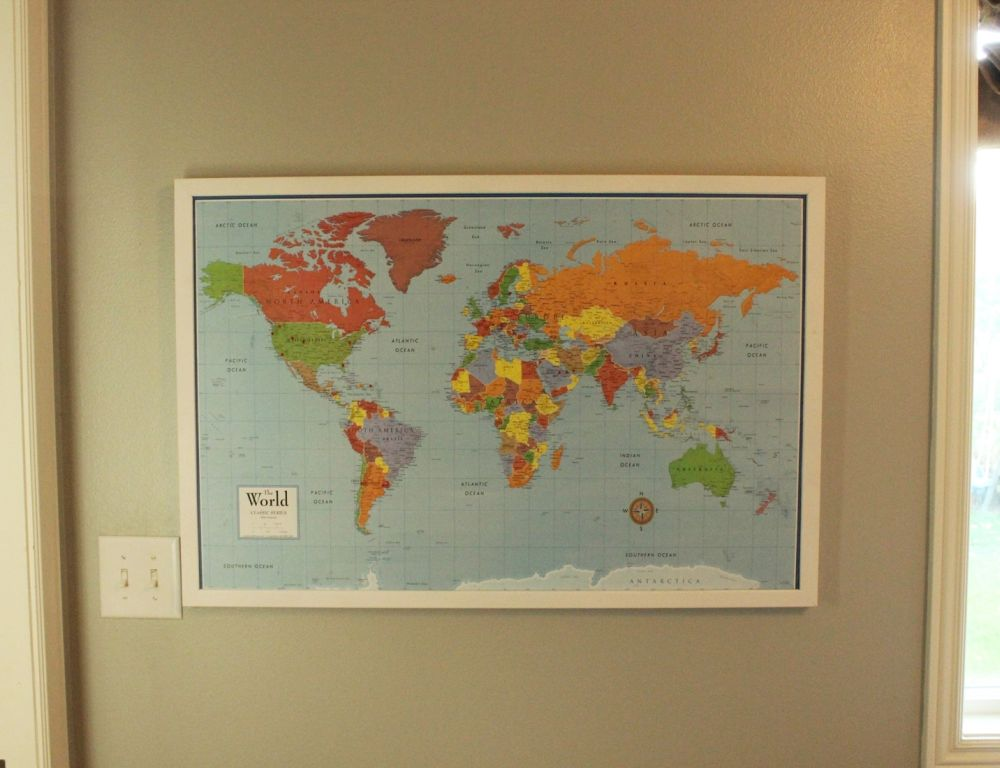 Diy framed map corkboard bulletin diy framed map corkboard frame gumiabroncs Choice Image
