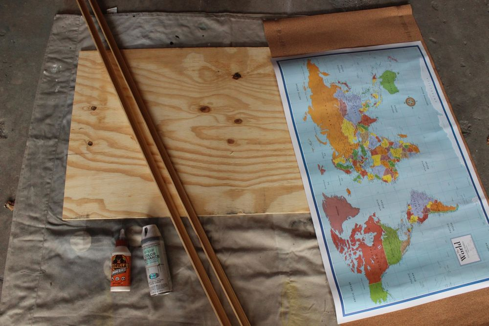 DIY Framed Map Corkboard- Materials