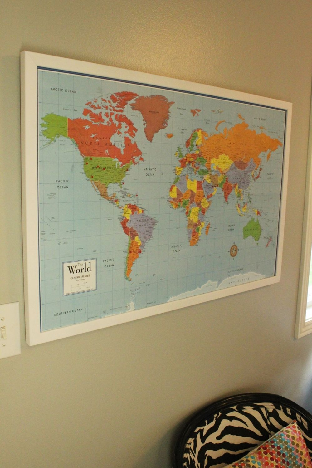 Diy framed map corkboard bulletin diy framed map corkboard wall gumiabroncs Choice Image