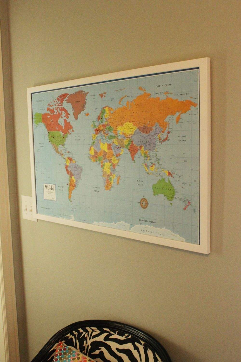 Diy framed map corkboard bulletin diy framed map corkboard polished frame gumiabroncs Choice Image
