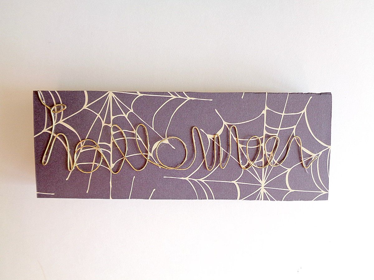 DIY Halloween Wire Word Block Art Glue