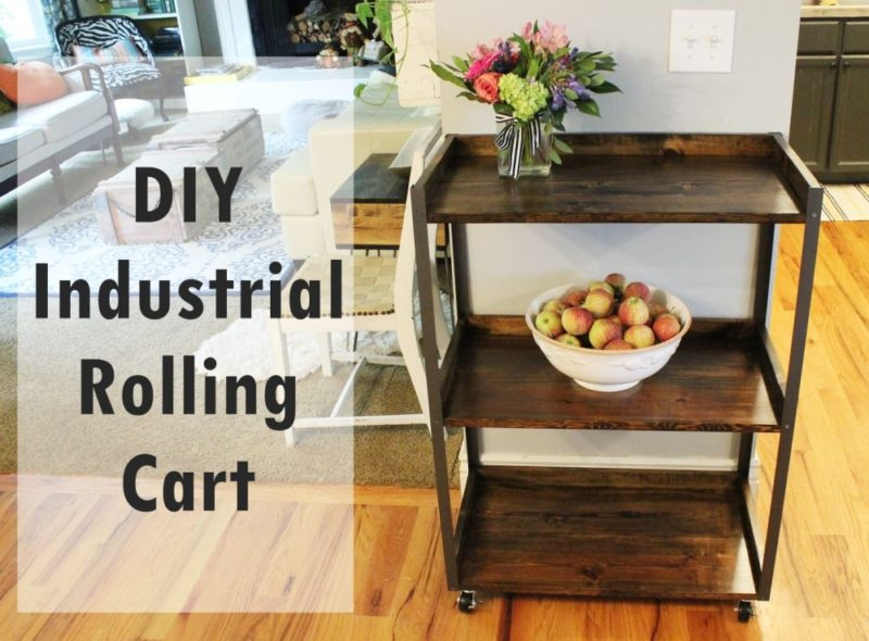 DIY Industrial Wood and Metal Rolling Kitchen Cart