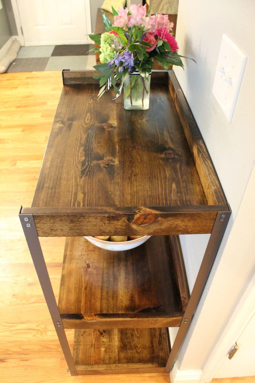 DIY Industrial Rolling Cart - Dark walnut wood stain