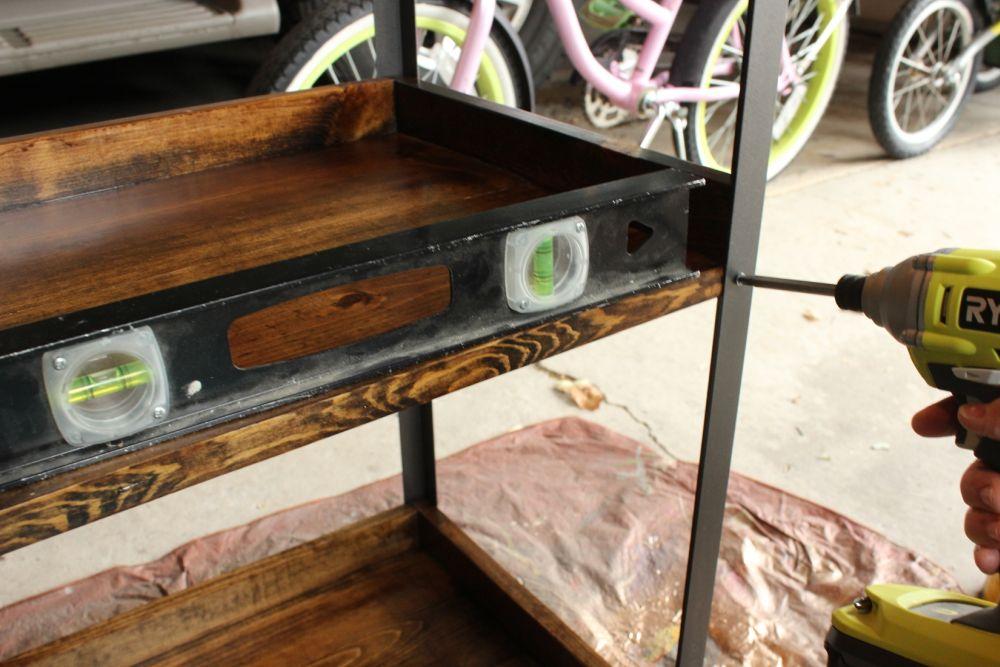DIY Industrial Rolling Cart -shelf level