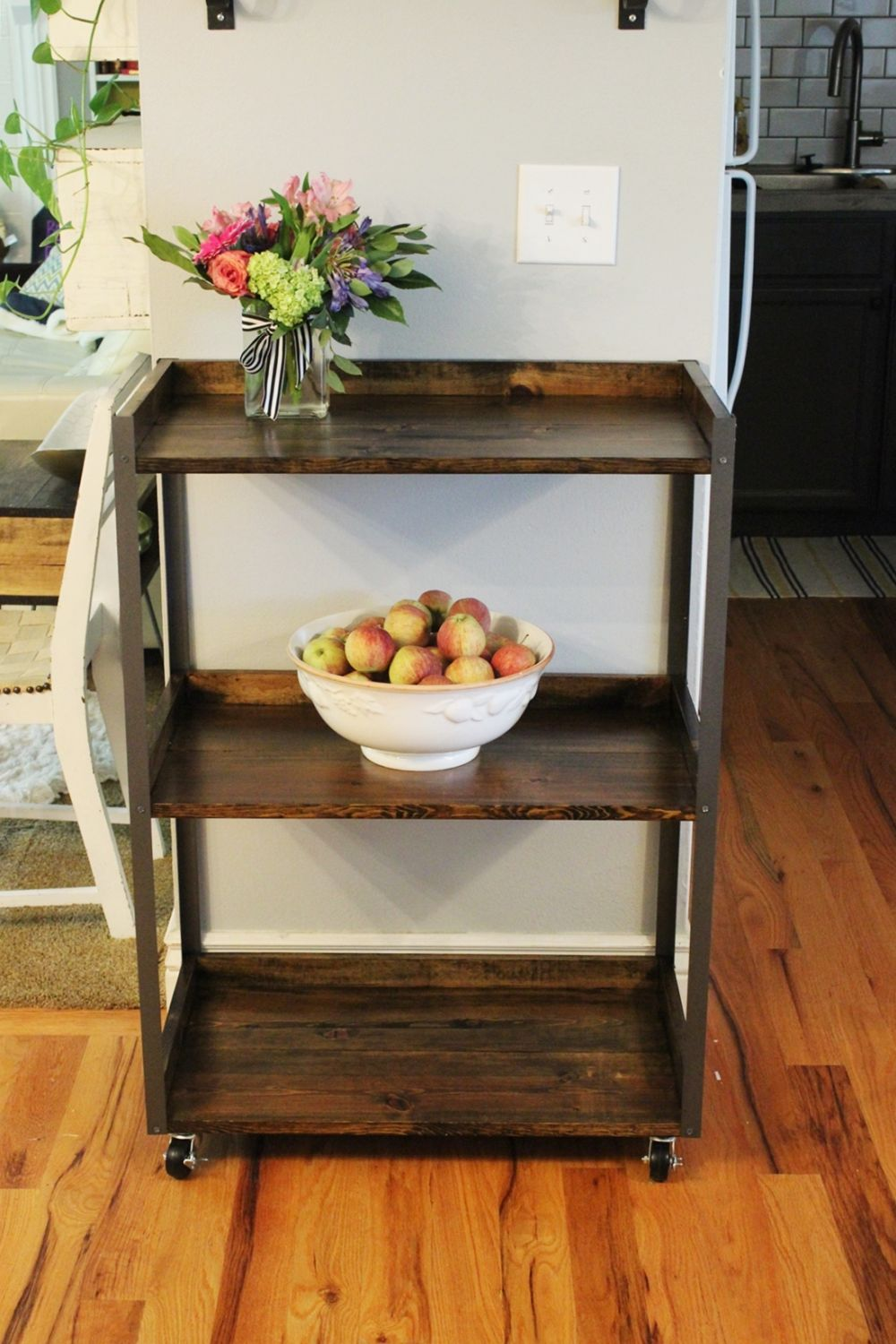 DIY Industrial Rolling Cart - wood and metall