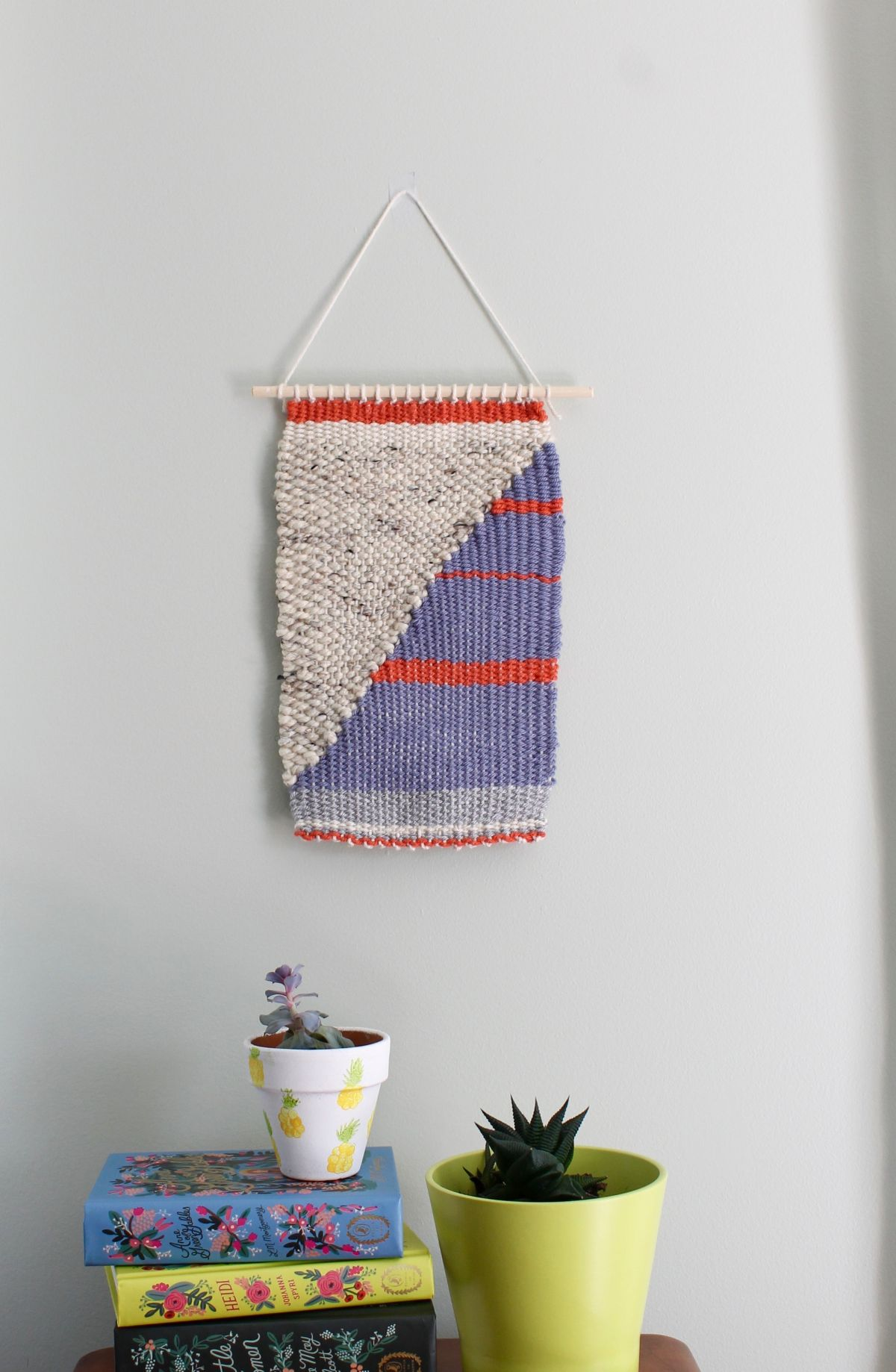 basic diy loom and woven wall hanging