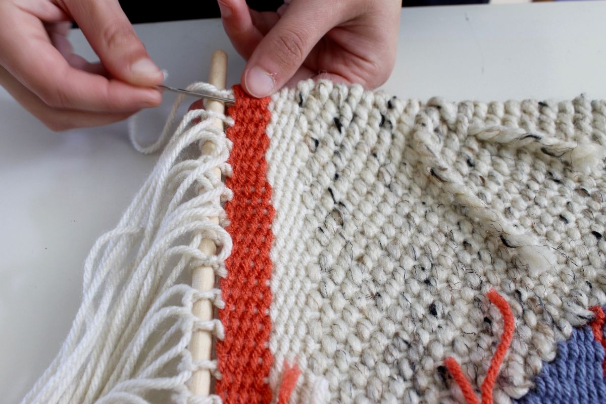 DIY Loom and Woven Wall Hanging - tied around