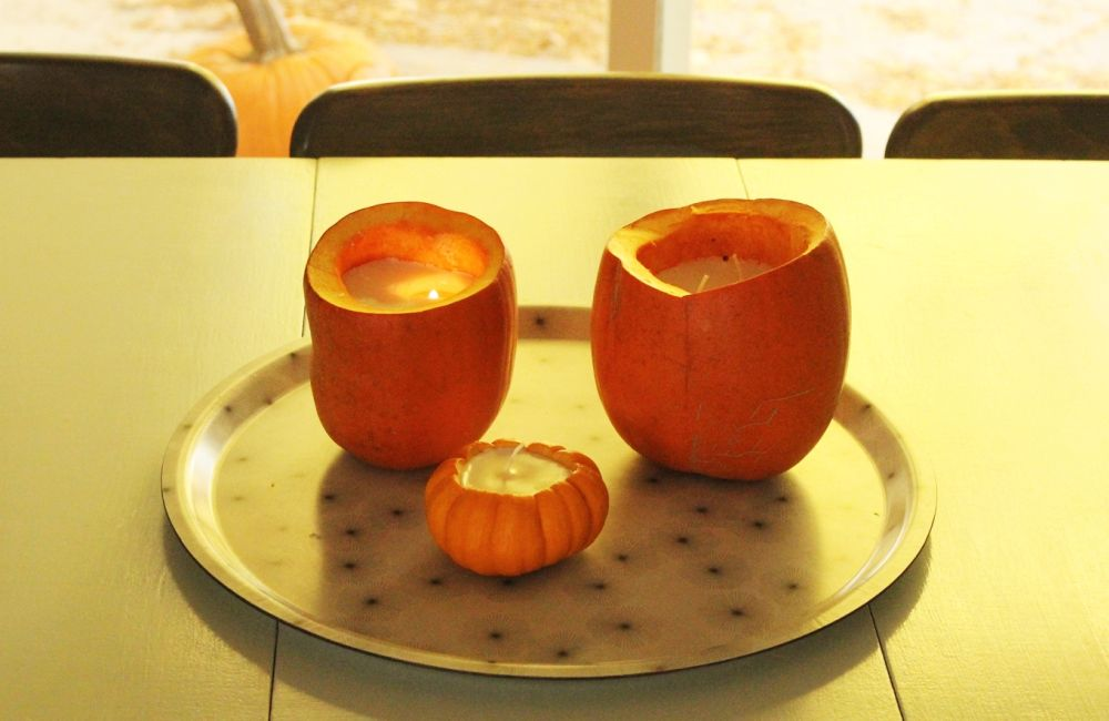 DIY cinnamon pumpkin candles