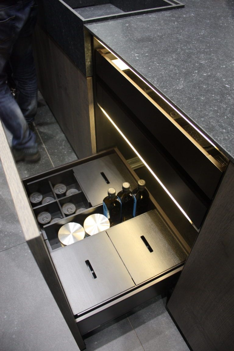 Compartmentalized and lighted drawers make organization a breeze.
