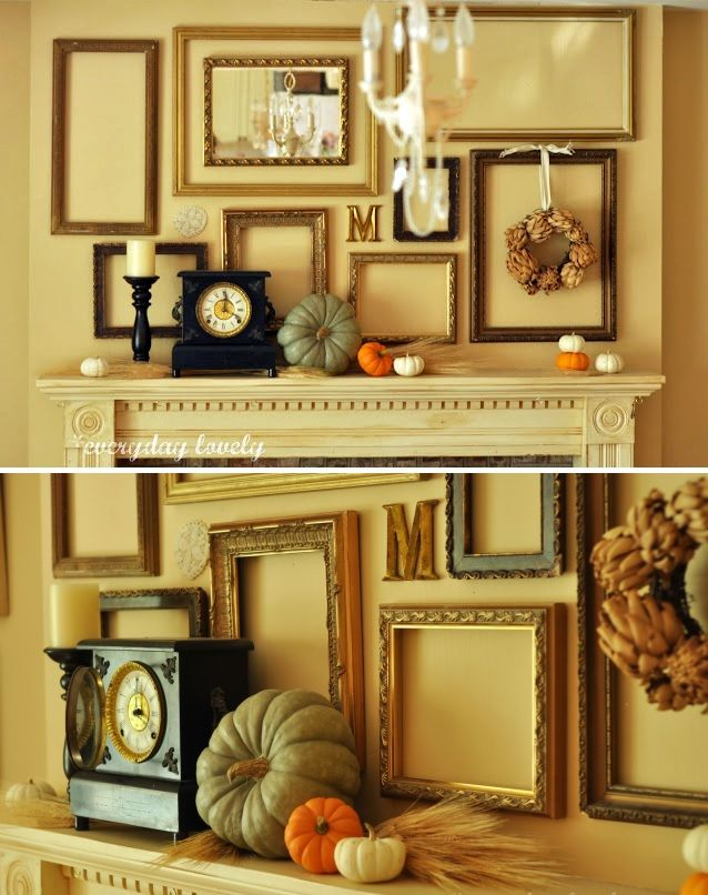 Decorate the fireplace mantel with empty frames