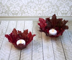 DIY Leaf Bowl Votive Candle Holders