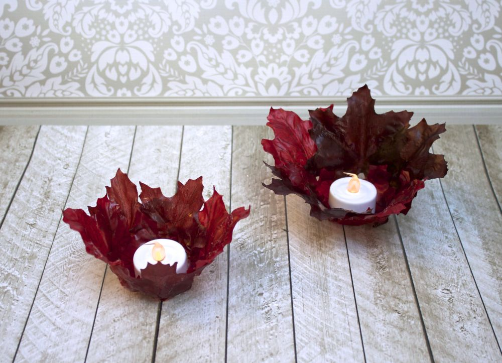 Fall Leaf Bowl Votive Candle Holders