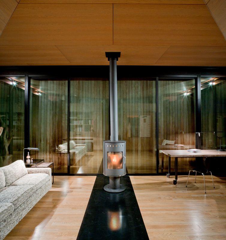 False bay writer cabin fireplace