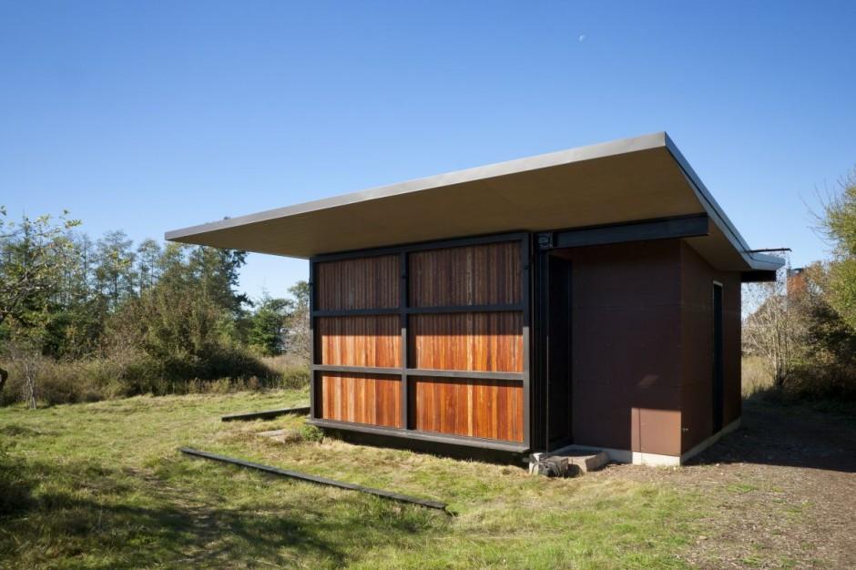 False bay writer cabin wood shutters