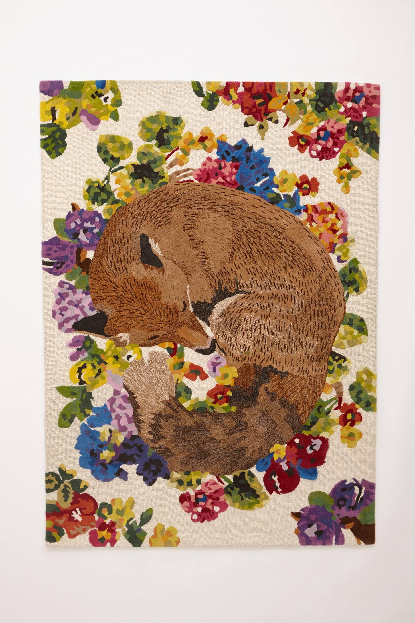 Foxy dark floor rug