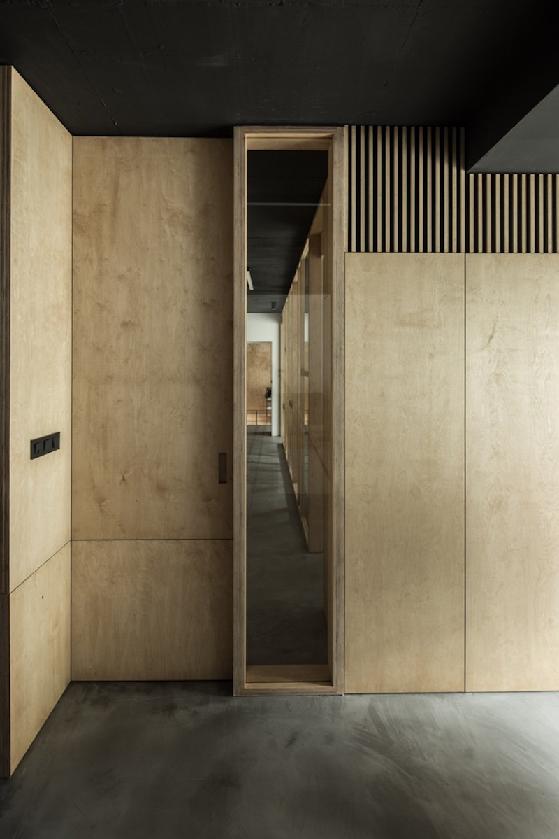 Framehouse office plywood walls