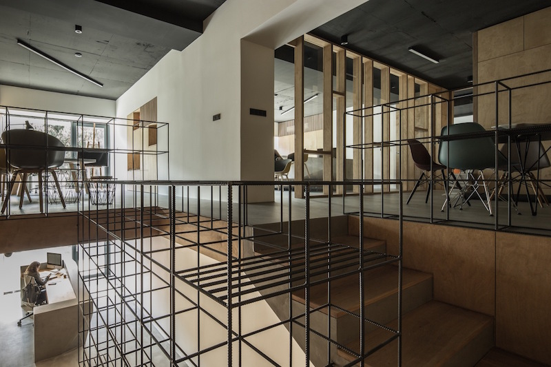 Framehouse office staircase mesh unit