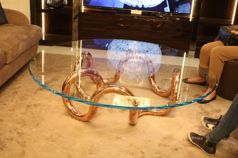Gold Copper base coffee table with glass top