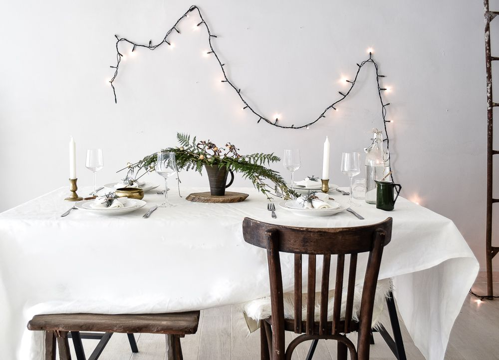 Green Festive Table Styling String Lights