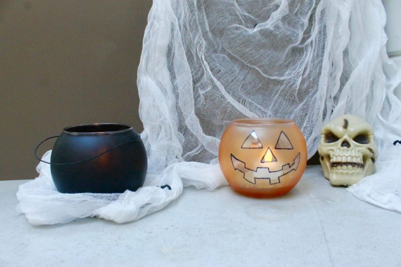 DIY Halloween Jack-O-Lantern and Cauldron Candle Holders