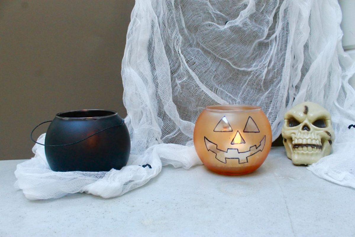 Halloween Jack-O-Lantern and Cauldron Candle Holders Project