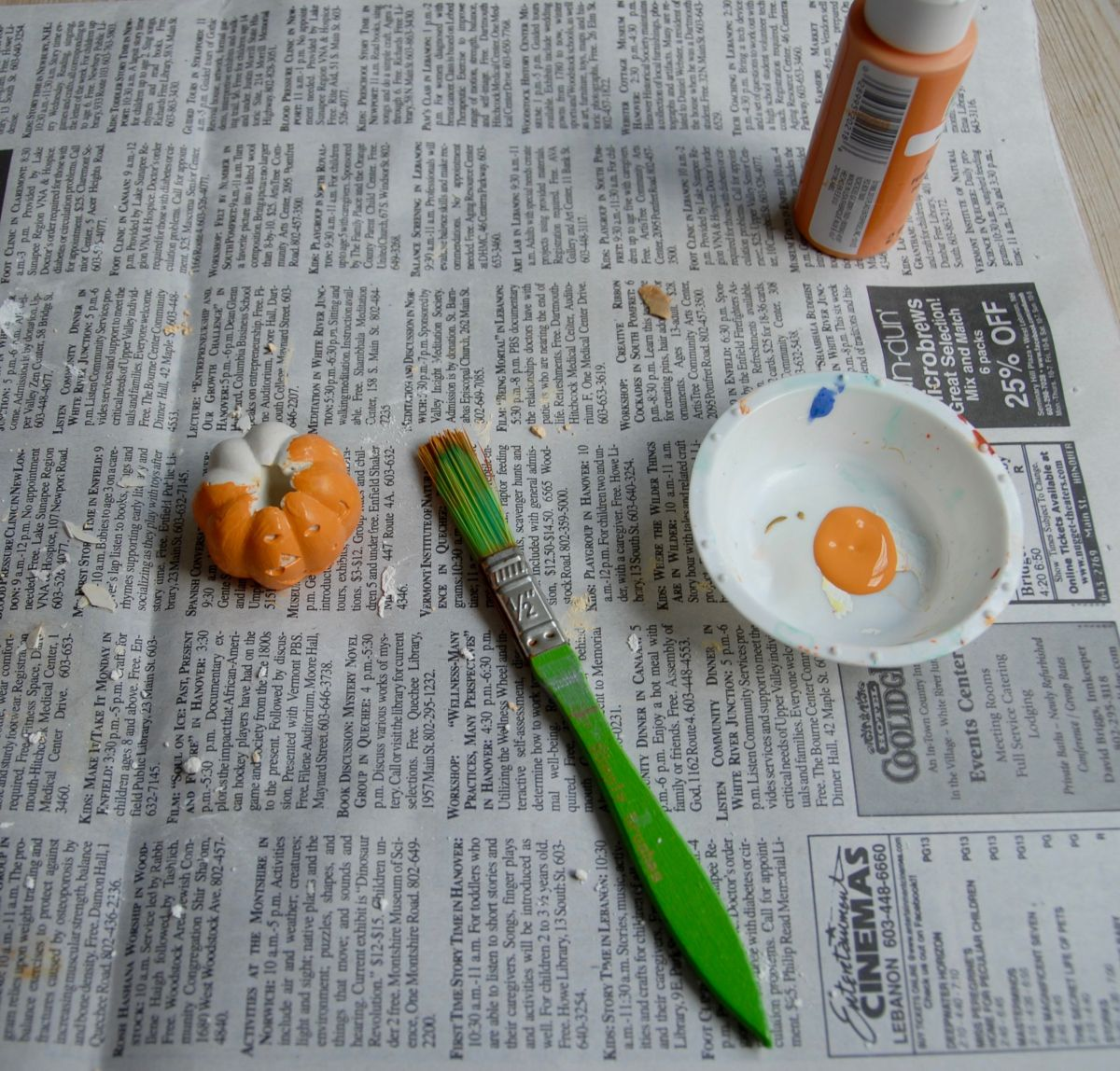 Halloween Pumpkin Air Plant Holders - Painting Process