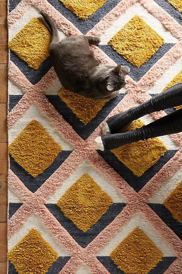 Handgetufteter Trellis Teppich