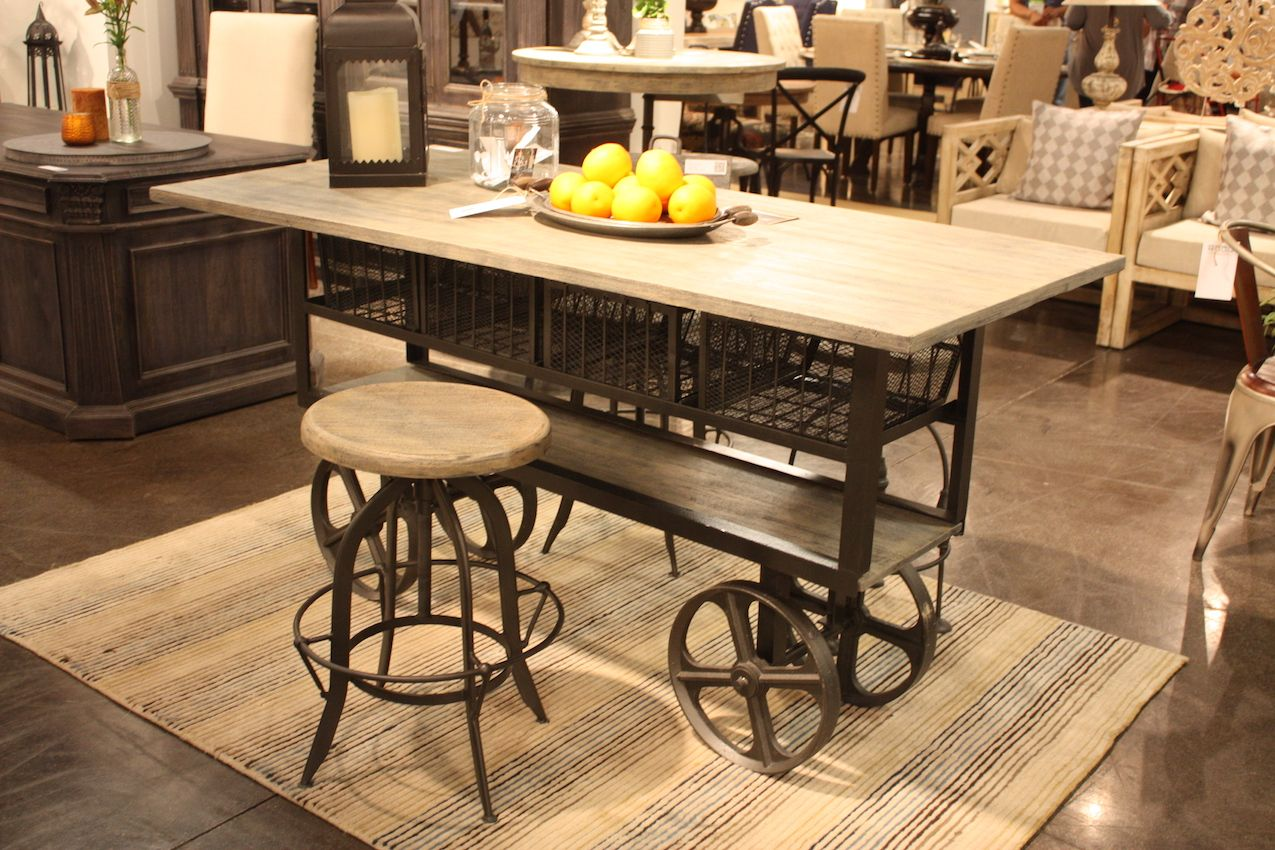 Beautiful Home Accents Wheeled Island   Industrial Design
