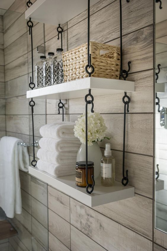 Industrial Hanging Shelves in Bathroom & Obsessed With Hanging Shelves - Simple DIY Ideas Youu0027ll Love