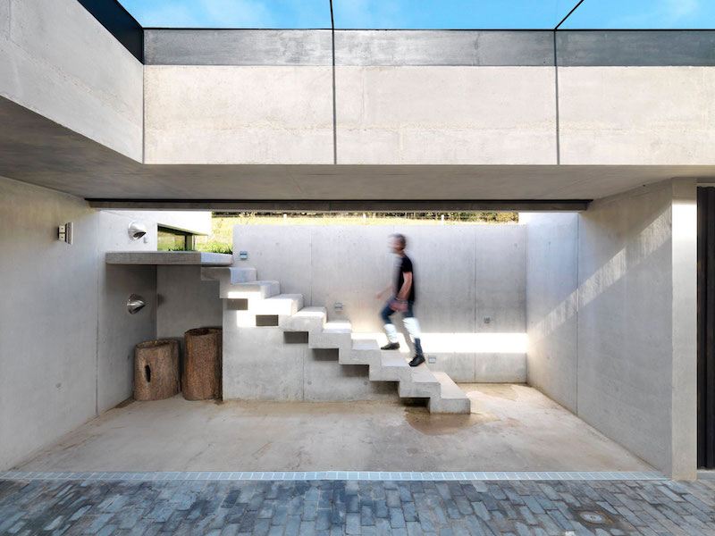 Inside Outside house concrete staircase