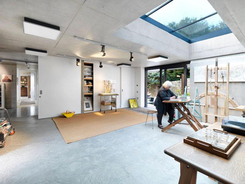 Inside Outside house studio skylight