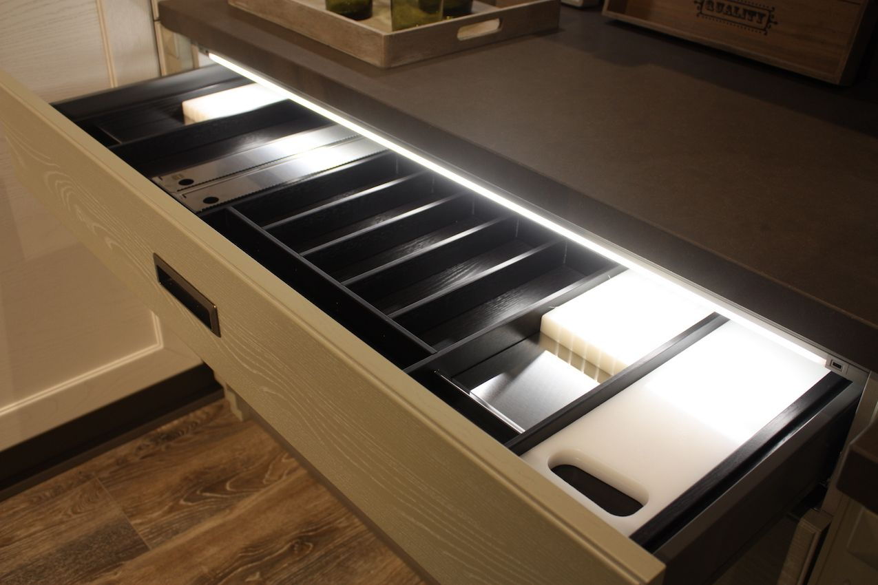 Lighted drawers are a must have in new kitchens. This design is from Arrex.