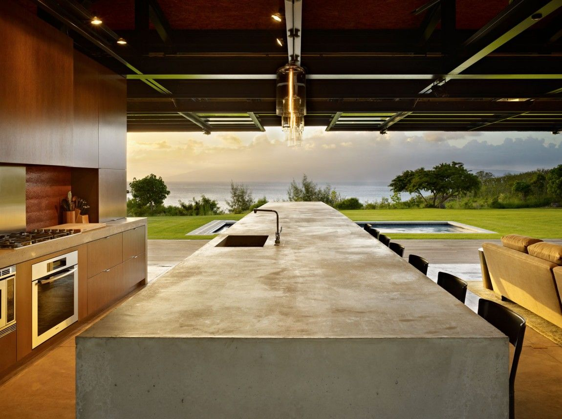 Large beach house with open space kitchen -concrete decor