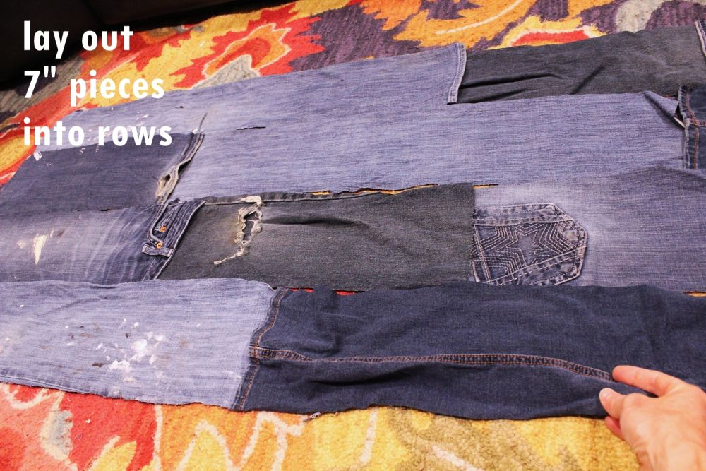 Lay out your denim in strips