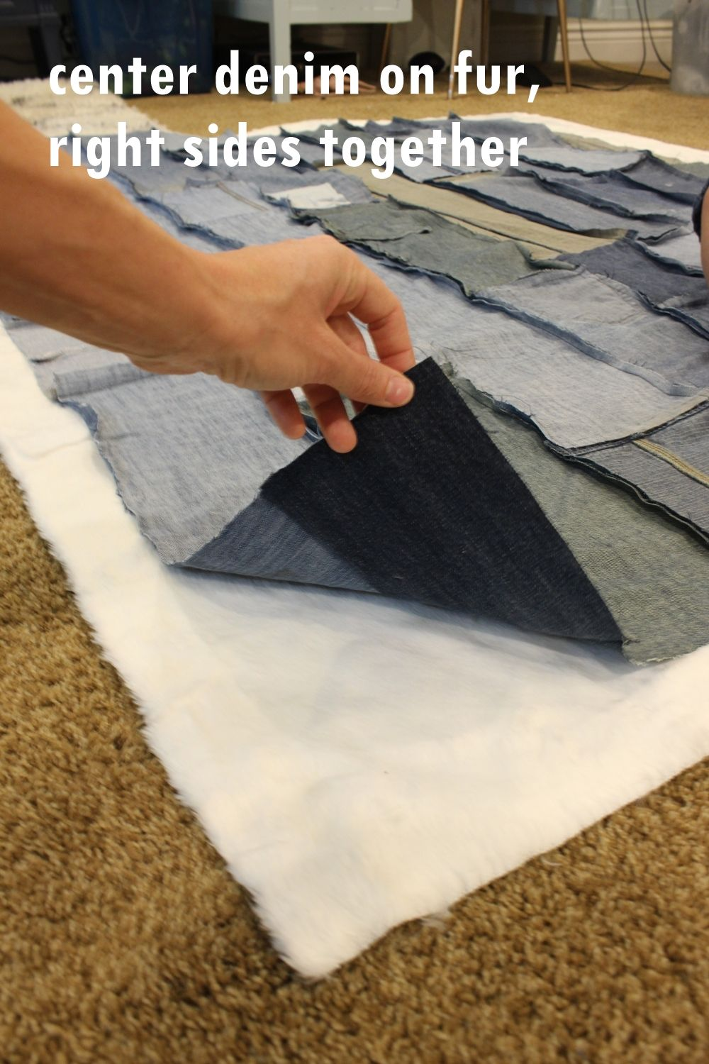 Lay your denim piece on top of the fur