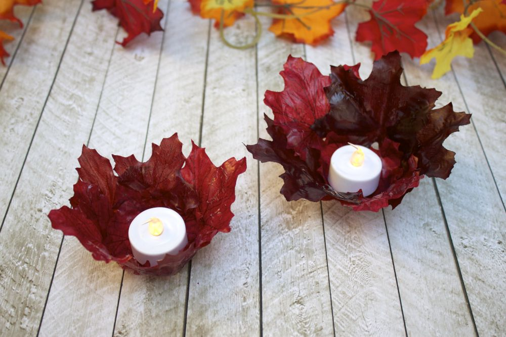 Leaf Bowl Votive Candle Holders Project