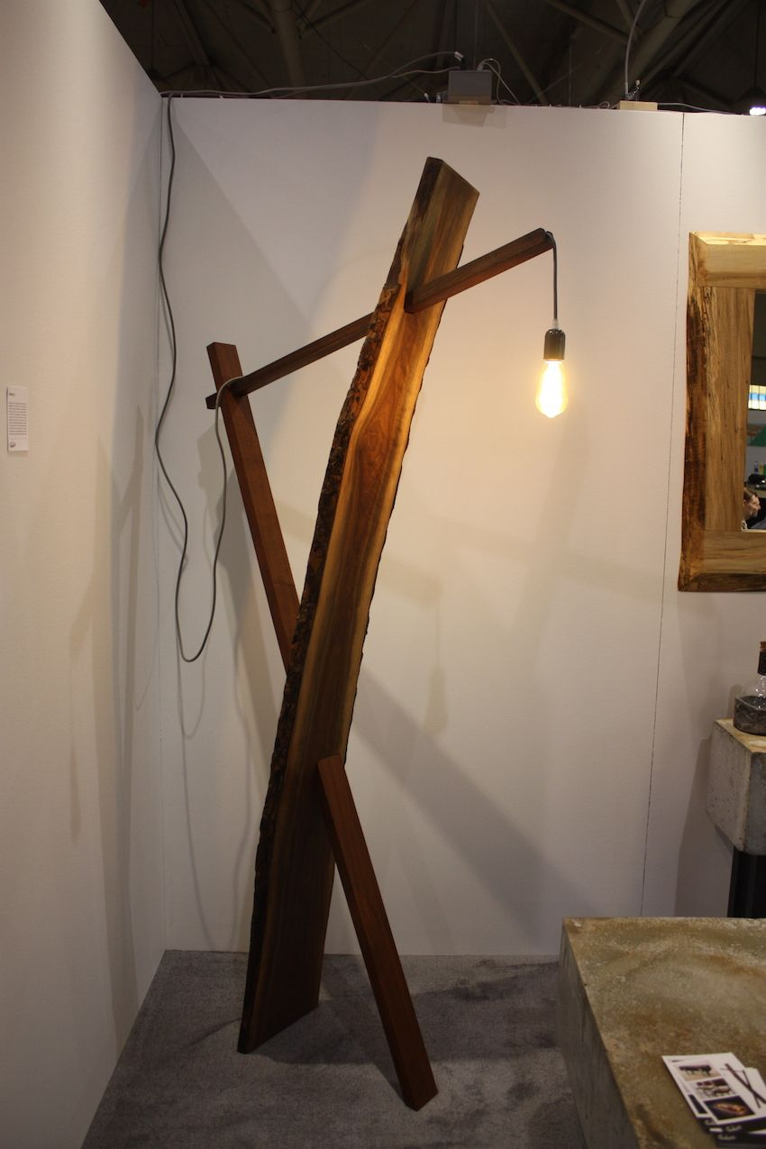 Live edge floor lamp concrete booth