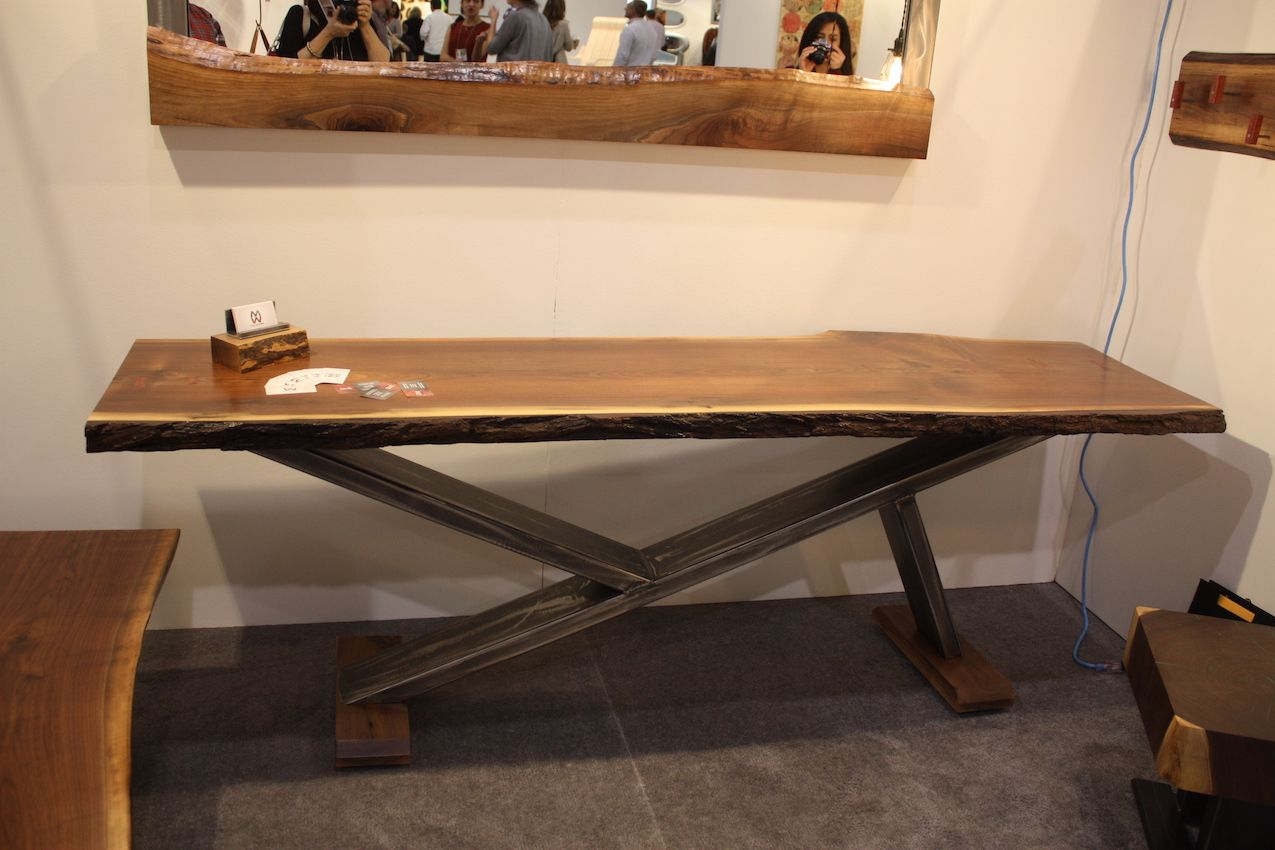 Metalwork table and live edge wood