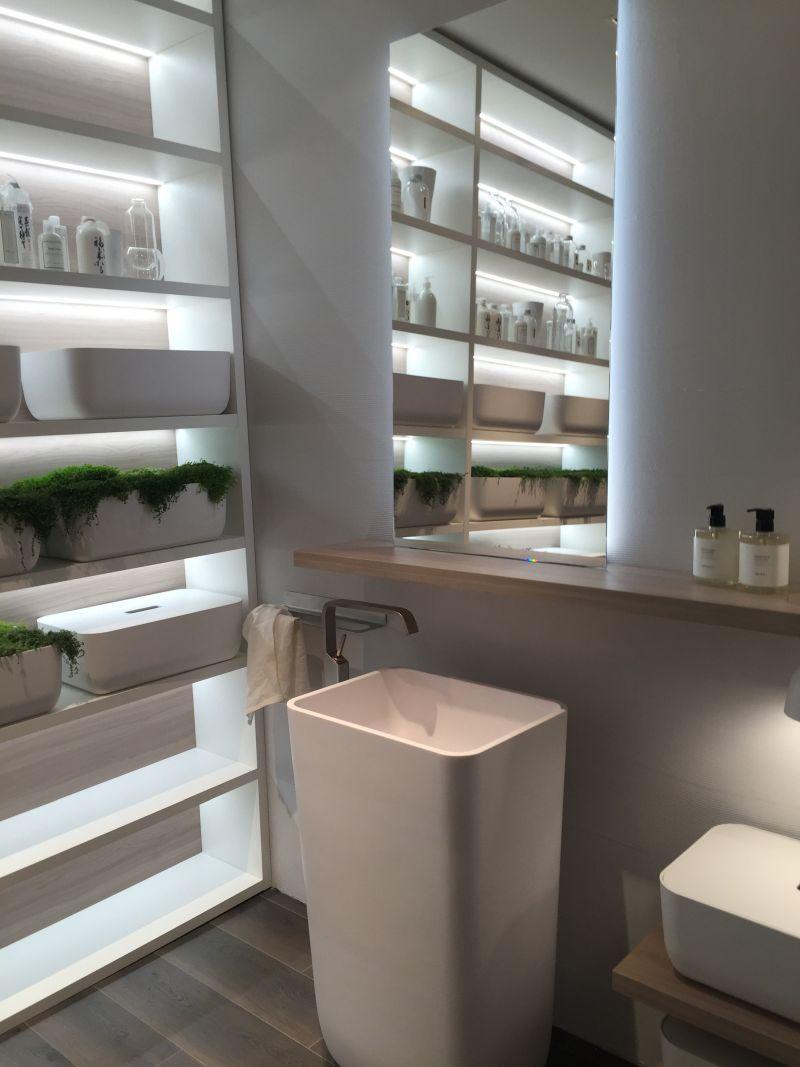 Modern bathroom design with a freestanding washbasin
