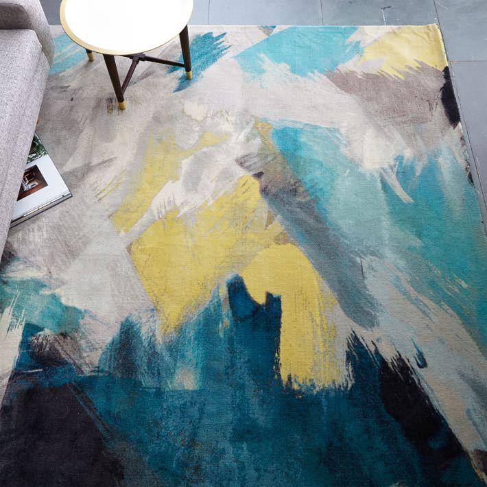 Painted dark floor rug