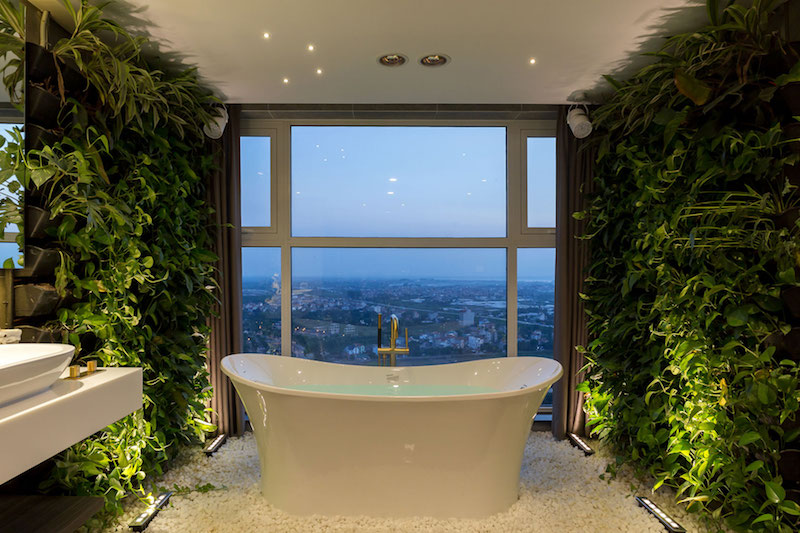 Penthouse Ecopark bathroom tub and view