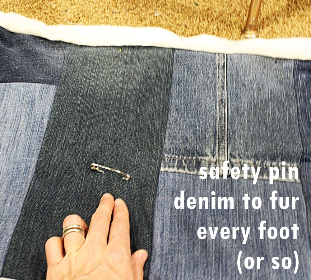Place safety pins every foot