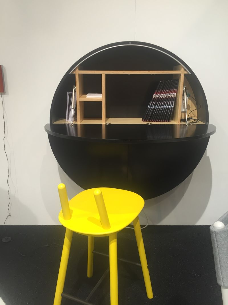 Round black wall mounted desk