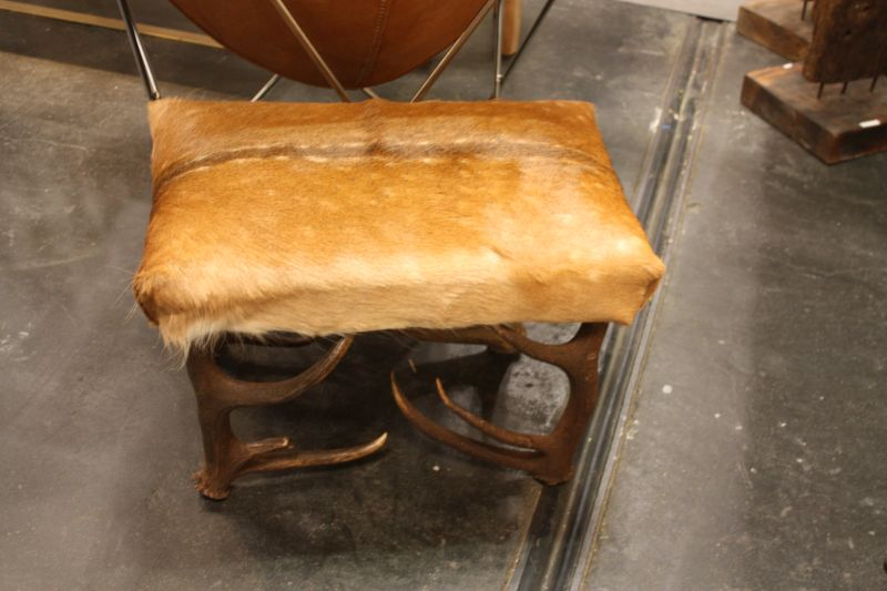Rustic chowhide chair with antler base