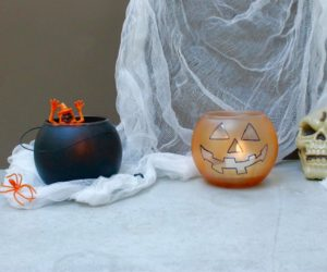 DIY Halloween Jack-O-Lantern and Cauldron Candle Holders