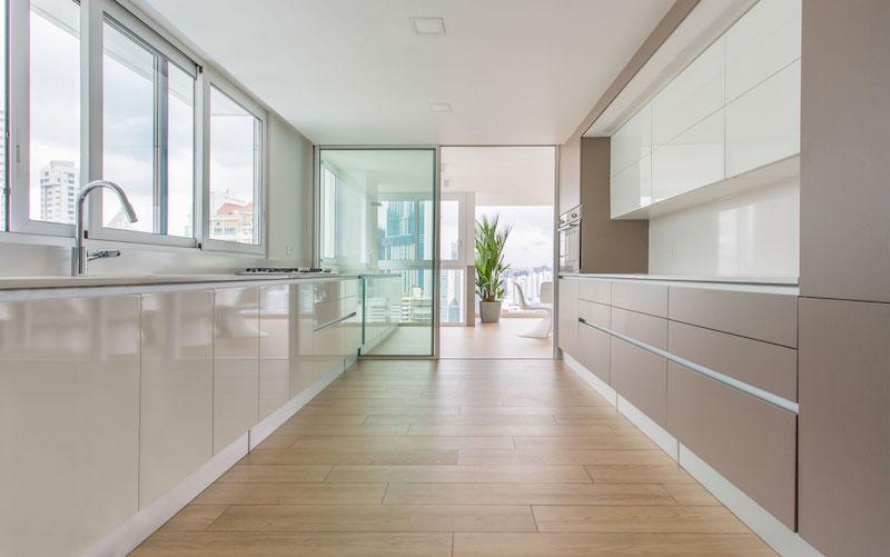 Sky in Every Room apartment kitchen door to terrace