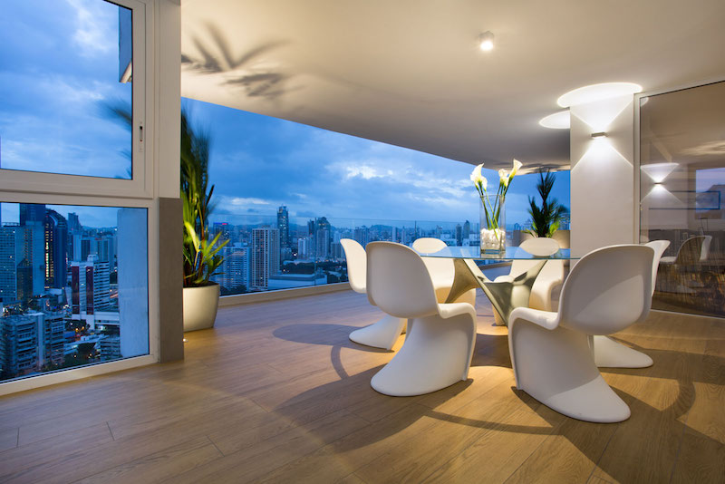 Sky in Every Room apartment outdoor dining area sunset